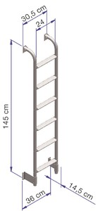 Thule Ladder Single 6 Steps dimensions