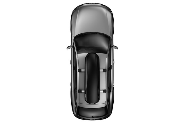 Rooftop cargo carrier Thule Force on car from above